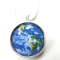 EARTH  Necklace/ Earth pendant/ Earth from Space/Universe/ Ecology Jewelry/ Environmental Necklace/ Save the Earth