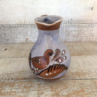 Pitcher Pottery Pitcher Handmade Mexican Vase Pottery Flower Vase Farmhouse Chic Decor Small Water Pitcher Ceramic Pitcher Mexican Folk Art