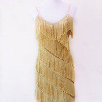HOT SALE FLAPPER FRINGE 1920s GOLD GREAT GATSBY CHARLESTON SEQUIN PARTY LATIN DRESS SMALL LARGE