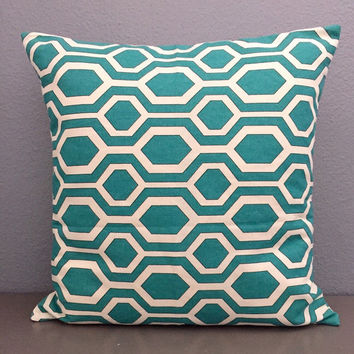 New ready to ship Teal and White Geometric Decorative Pillow Cover teal Home Decor Nursery Decor 18in Modern decor Accent Pillow