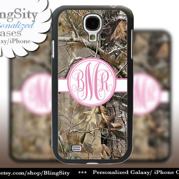 Camo Pink Monogram Galaxy S4 case S5 RealTree Tree Camo Personalized Samsung Galaxy S3 Case Note 2 3 Cover Country Girl