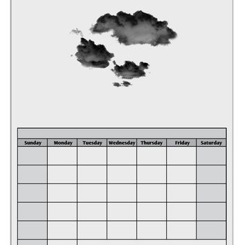 Inverted Puffy Clouds Blank Calendar Dry Erase Board