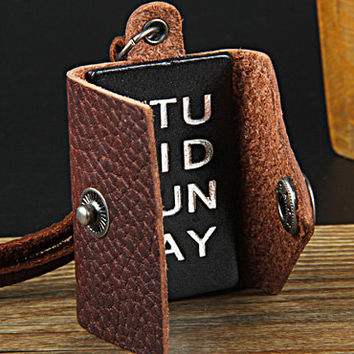 Brown real Leather and alloy pendant adjustable necklace mens necklace  unisex necklace cool necklace B2751