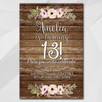 13th Birthday invitation, Watercolor Wood Invitation, 13th 18th 21st 30th 40th 50th, Custom Birthday Party invitation XA022w