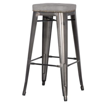 Metropolis PU Leather Metal Backless Bar Stool, Vintage Mist Gray (Set of 4)