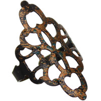 Black Bronze Rustic Glitter Cutout Cuff Ring