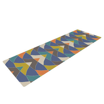 "Julia Grifol ""Colorful Triangles"" Blue Multicolor Yoga Mat"