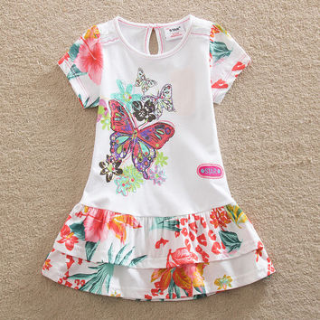 NEAT New baby girl clothes college style girls dresses embroidered wave points stripe bow kids clothes short sleeve dress S66033
