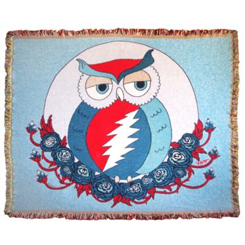 Blue Grateful Dead Owl Woven Cotton Blanket