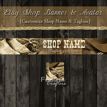 Etsy Shop Banner and Matching Avatar - Premade Western Boots and Cowboy Hat - Customize Shop Name and Tagline - Graphic Design Service