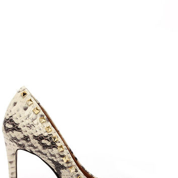 Steve Madden Proto Natural Snake and Gold Studded Pumps
