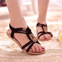 Brand Summer Shoes Woman Bohemia Beaded Flat Sandals Beach Sandals Women Shoes sandalias zapatos mujer Sapato Feminino RD642454