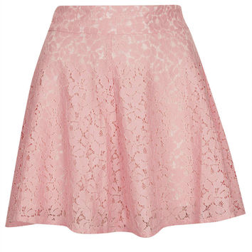 Pink High Waist Lace Skater Skirt - Going Girly - New In - Topshop