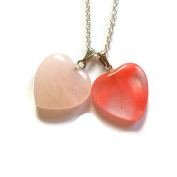 Two Hearts Necklace, Rose Quartz Necklace, Heart Necklace, Couples Necklace, Heart Jewelry,Friends Necklace, Double Heart Necklace