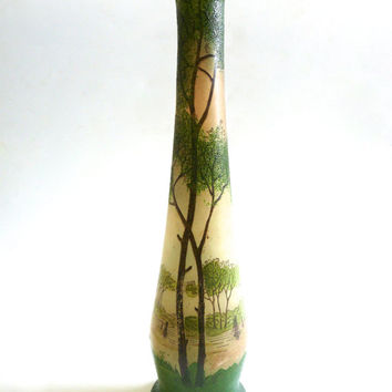 Antique Legras enamelled glass vase 1900, french Art-Nouveau/jugendstil
