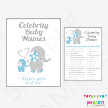 Blue Elephant Baby Shower Games, Celebrity Name Game, Blue and Gray Elephant Baby Shower Printables Boy, Instant Download, + Sign, ELLBG