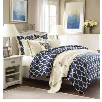 Navy Lattice Comforter Set