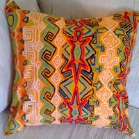 Bright Multi Color Shirt Pillow Cover Upcycled 16 X 16, Lizard, Turtle, Southwest