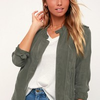 Paystub Olive Green Lightweight Jacket