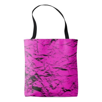 Black cracks on pink, purple, violet pattern tote bag
