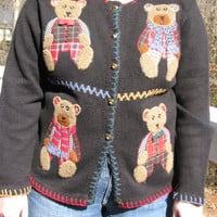 teddy bear sweater, teddy bears, christmas sweater, tacky sweater, tacky christmas sweater, black sweater, kawaii sweater, unique sweater