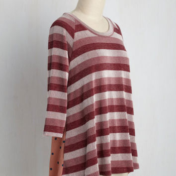 Sartorial Self-Discovery Top in Berry | Mod Retro Vintage Short Sleeve Shirts | ModCloth.com