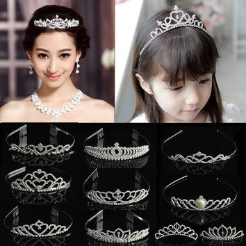 Wedding Bridal Comb Tiara Rhinestone Crystal Crown Pageant Prom Hair Headband
