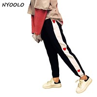 NYOOLO New streetwear spring autumn love embroidery stitching mid elastic waist hip-hop long pencil pants women/men pants