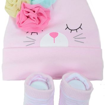 Easter Bunny Baby Beanie Hat Sock Girl Gift Set Infant
