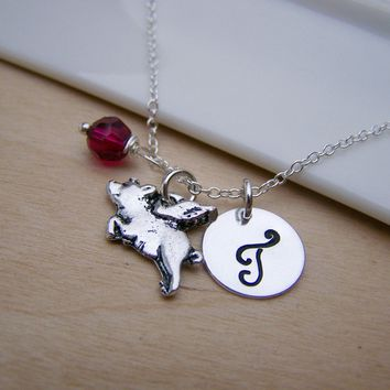 Flying Pig Charm Swarovski Birthstone Initial Personalized Sterling Silver Necklace / Gift for Her