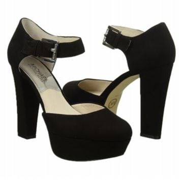 Women's MICHAEL MICHAEL KORS Haven Ankle Strap Black Suede Shoes.com