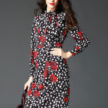 Black Rose Print Long Sleeve Midi Dress