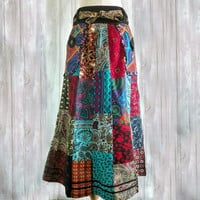 Patchwork skirts Unique gypsy Boho Chic hippie gift women Handmade Vegan fashion funky festival clothing  hippie skirt colorful