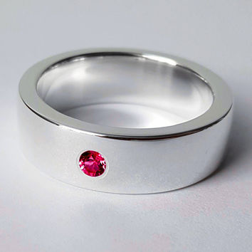 Wide Sterling Silver Ruby Band - Sterling Silver Ruby Ring