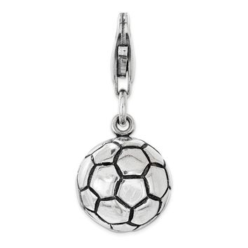 Sterling Silver Polished and Antiqued Soccer Ball with Lobster Clasp Charm