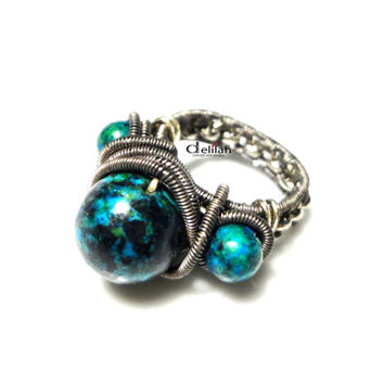 Wire Wrapped Chrysocolla Ring, Non-Adjustable, Oxidized Wire, Waves, Metallic Chain, Dyed Stones, Dark Green