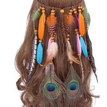 So 1960s Hippie Chic Feather Head Band - Multi Colors