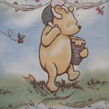 Disney Classic Winnie the Pooh Cotton Fabric Destash Nursery Baby Boy Girl Clean USED From Crib Bumper Pad 2 Yd x 10 Inch Piece Craft Fabric