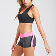 FOREVER 21 Color-Striped Performance Shorts Charcoal/Hot Pink