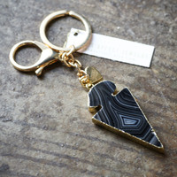 Striated Arrowhead Statement Keychain