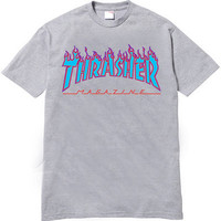 Thrasher Magazine Light Blue Purple Flame Logo Gray T-Shirt