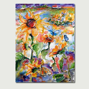 Sunflowers,Butterflies, Bees  Watercolor Ink Pastel Large 18 by 24 inch Original Painting by Ginette