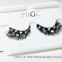Silver foil faux feather eyelashes