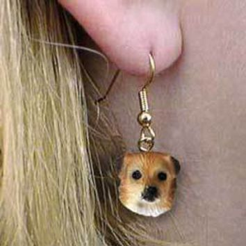 TIBETAN SPANIEL EARRINGS HANGING