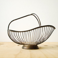 Vintage Wire Basket Italian Silver Plate Patina Mid Century Modern Style