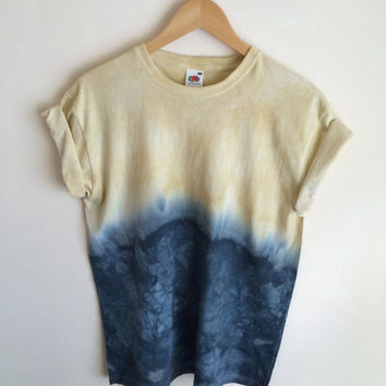 Dip Dye Tie Dye T-Shirt Unisex, Yellow and Black/Navy