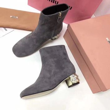 Prada Miu Miu Velvet Ankle Boots With Pearls Gray - Best Deal Online