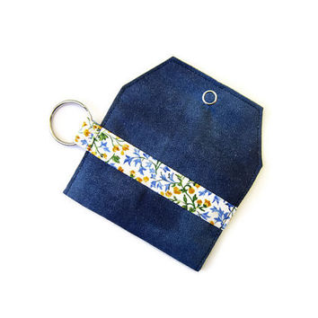 Mini key chain wallet/ simple ID Key chain pouch / keychain coin purse / Business card holder / Night sky and yellow floral special edition