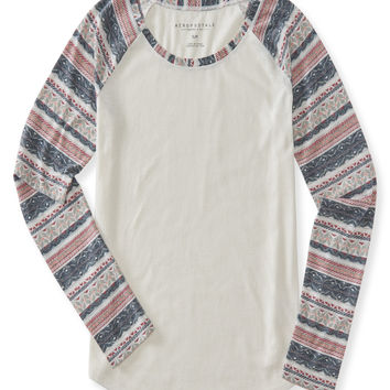Long Sleeve Tribal Stripe Raglan Top