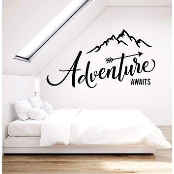 Vinyl Wall Decal Adventure Awaits Motivation Quote Mountains For Traveler Stickers (2863ig)